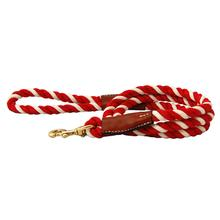 Natural Cotton and Leather Dog Leash by Auburn Leathercrafters - Red and White