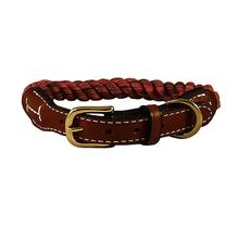 Natural Cotton and Leather Rope Dog Collar by Auburn Leathercrafters - Maroon