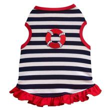 Nautical Dog Dress by I See Spot - Red Trim