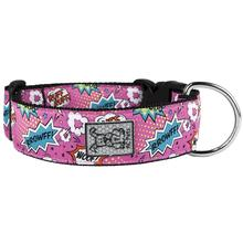 Pink Comic Sounds Wide Clip Adjustable Dog Collar By RC Pet