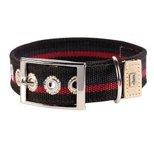 New Orleans Cotton Stripe Dog Collar by HUNTER - Black