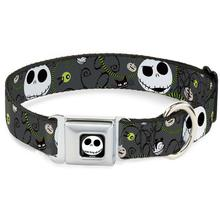 Nightmare Before Christmas Seatbelt Buckle Dog Collar by Buckle-Down - Gray