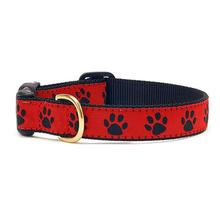 Red Black Paw Dog Collar by Up Country