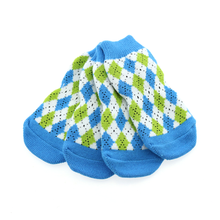 Non-Skid Dog Socks by Doggie Design - Blue and Green Argyle