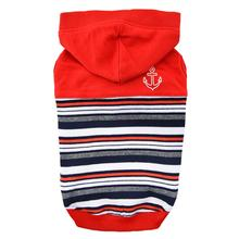 Oceane Striped Dog Hoodie by Puppia - Red