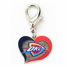 Oklahoma City Thunder Swirl Heart Dog Collar Charm