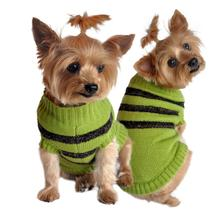 Olive Green and Brown Stripe Dog Sweater by Doggie Design