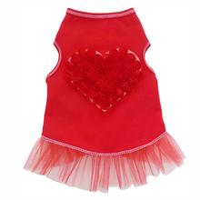 Organza Rose Heart Tank Dog Dress - Red