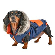 Orson Fleece Dog Vest By Puppia - Navy and Orange