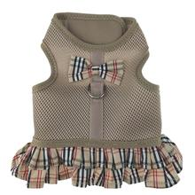 Parisian Pet Plaid Harness Dog Dress - Tan