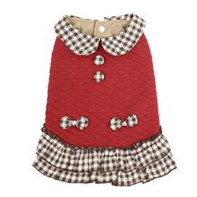 Dobaz Quilted Plaid Dog Dress - Red