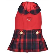 Parisian Pet Scottish Plaid Pleated Dog Dress - Red