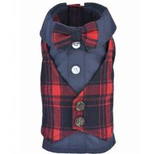 Parisian Pet Scottish Plaid Dog Tuxedo - Red and Blue