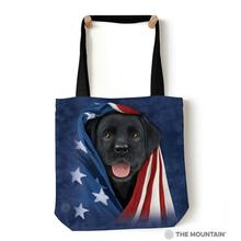 Patriotic Black Lab Pup Tote Bag by The Mountain