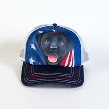 Patriotic Black Lab Pup Trucker Hat by The Mountain