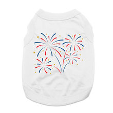 Patriotic Fireworks Dog Shirt - White