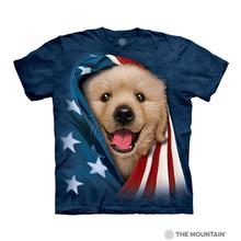 Patriotic Golden Pup Human T-Shirt by The Mountain