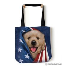 Patriotic Golden Pup Tote Bag by The Mountain