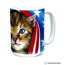 Patriotic Kitten Ceramic Mug by The Mountain