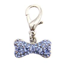 Pave Bone D-Ring Pet Collar Charm by foufou Dog - Blue