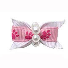 Paw Dog Bow with Alligator Clip - Hot Pink