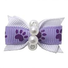 Paw Dog Bow with Alligator Clip - Light Orchid