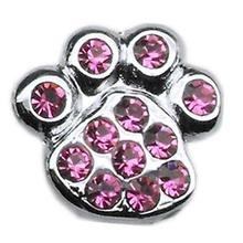 Paw Slider Dog Collar Charm - Pink
