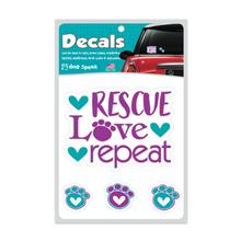 Rescue Love Repeat Window Decal by Dog Speak