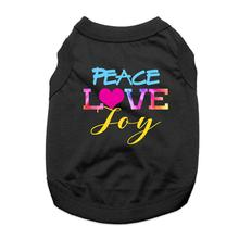 Peace, Love, Joy Dog Shirt - Black