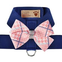 Peaches & Cream Glen Houndstooth Nouveau Bow Tinkie Dog Harness by Susan Lanci - Indigo