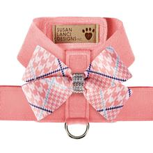Peaches & Cream Glen Houndstooth Nouveau Bow Tinkie Dog Harness by Susan Lanci - Peach