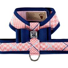 Peaches N' Cream Glen Houndstooth Tinkie Dog Harness with Big Bow and Trim by Susan Lanci - Indigo