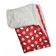 Penguins & Snowflakes Flannel Ultra-Plush Dog Blanket by Klippo - Red