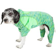 Pet Life ACTIVE Downward Dog Performance Full Body Warm-Up Dog Hoodie - Green