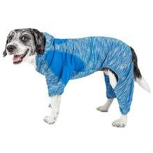 Pet Life ACTIVE 'Downward Dog' Performance Full Body Warm-Up Dog Hoodie - Blue