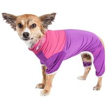Pet Life ACTIVE Embarker Performance Full-Body Dog Warm Up Suit - Lavender and Pink