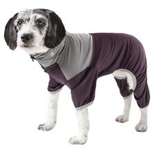 Pet Life ACTIVE Embarker Performance Full-Body Dog Warm Up Suit - Raisin and Grey