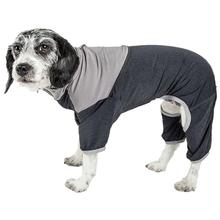 Pet Life ACTIVE Embarker Performance Full-Body Dog Warm Up Suit - Charcoal and Grey
