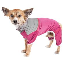 Pet Life ACTIVE Embarker Performance Full-Body Dog Warm Up Suit - Pink and Gray