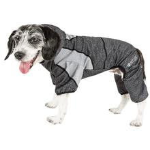 Pet Life ACTIVE Fur-Breeze Performance Full Body Warm-Up Dog Hoodie - Black and Gray