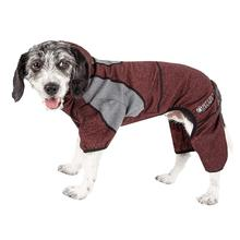 Pet Life ACTIVE Fur-Breeze Performance Full Body Warm-Up Dog Hoodie - Burgundy and Gray