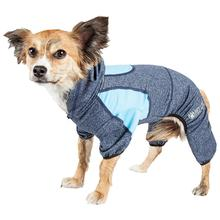 Pet Life ACTIVE 'Fur-Breeze' Performance Full Body Warm-Up Dog Hoodie - Navy and Blue