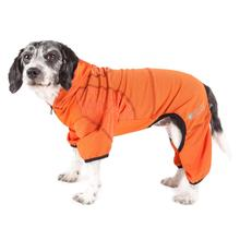 Pet Life ACTIVE 'Pawsterity' Peformance Dog Hoodie Jumpsuit - Orange