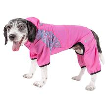 Pet Life ACTIVE 'Pawsterity' Peformance Dog Hoodie Jumpsuit - Pink