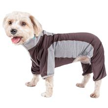 Pet Life ACTIVE Warm-Pup Performance Jumpsuit - Brown and Gray