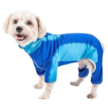 Pet Life ACTIVE Warm-Pup Performance Jumpsuit - Dark Blue and Light Blue