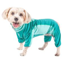 Pet Life ACTIVE 'Warm-Pup' Performance Jumpsuit - Green and Aqua