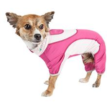 Pet Life ACTIVE Warm-Pup Performance Jumpsuit - Hot Pink and Light Pink