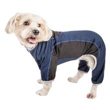 Pet Life ACTIVE Warm-Pup Performance Jumpsuit - Navy and Black
