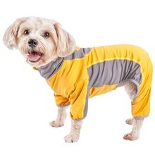 Pet Life ACTIVE Warm-Pup Performance Jumpsuit - Yellow and Gray